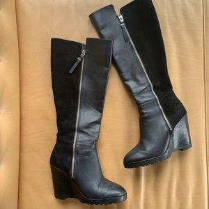 Michael Kors Black leather & suede wedge boots 7.5